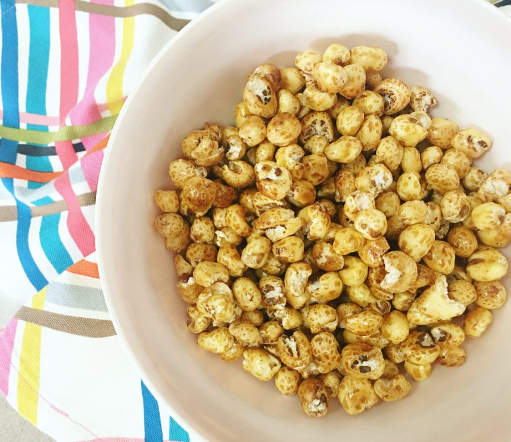 white bowl filled with baked kettle corn.