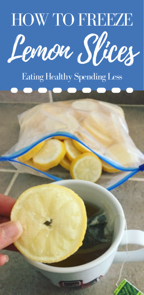 picture of a bag of frozen lemon slices with a mug of hot tea inserting a frozen lemon slice into the hot tea.