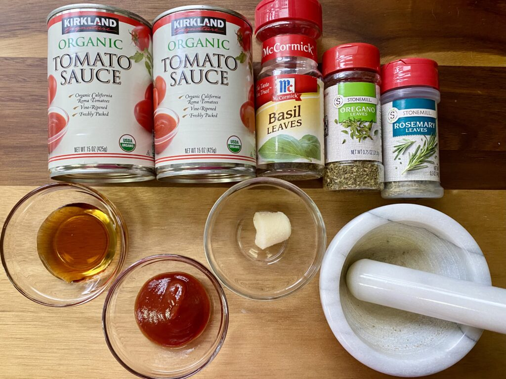 ingredients to make pizza sauce