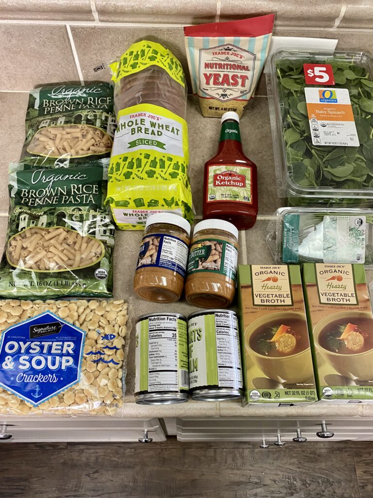 budget grocery haul from Trader Joe's
