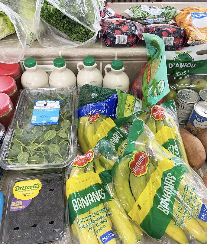 bananas, pure maple syrup, and other produce grocery haul