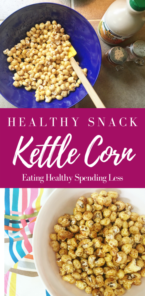 blue bowl of puffed corn mixed with pure maple syrup to create a fun healthy snack for kids.