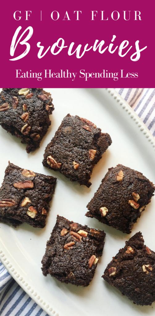 platter of gluten free brownies with pecans on top