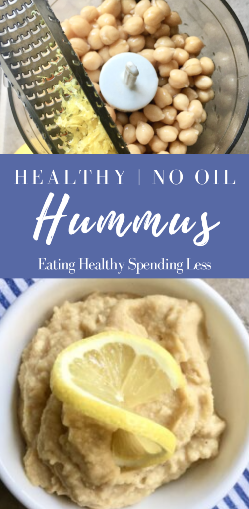 2 pictures showing how to make simple hummus using a mini food processor and canned chickpeas