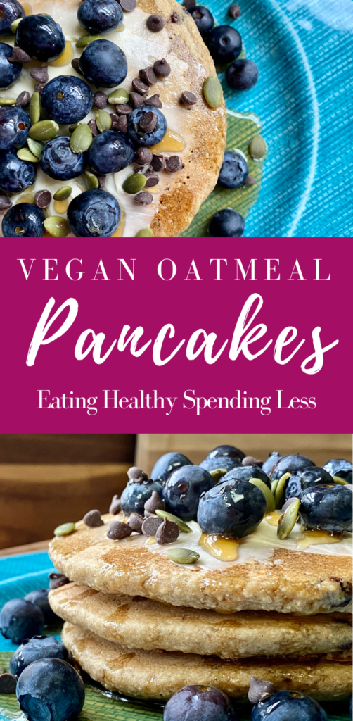 2 pictures of vegan oatmeal pancakes