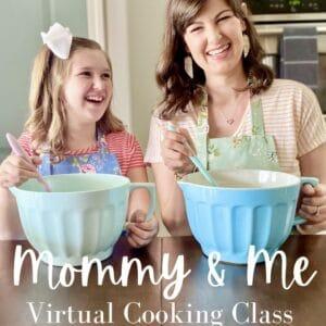 blue mixing bowls stirring to make cookies