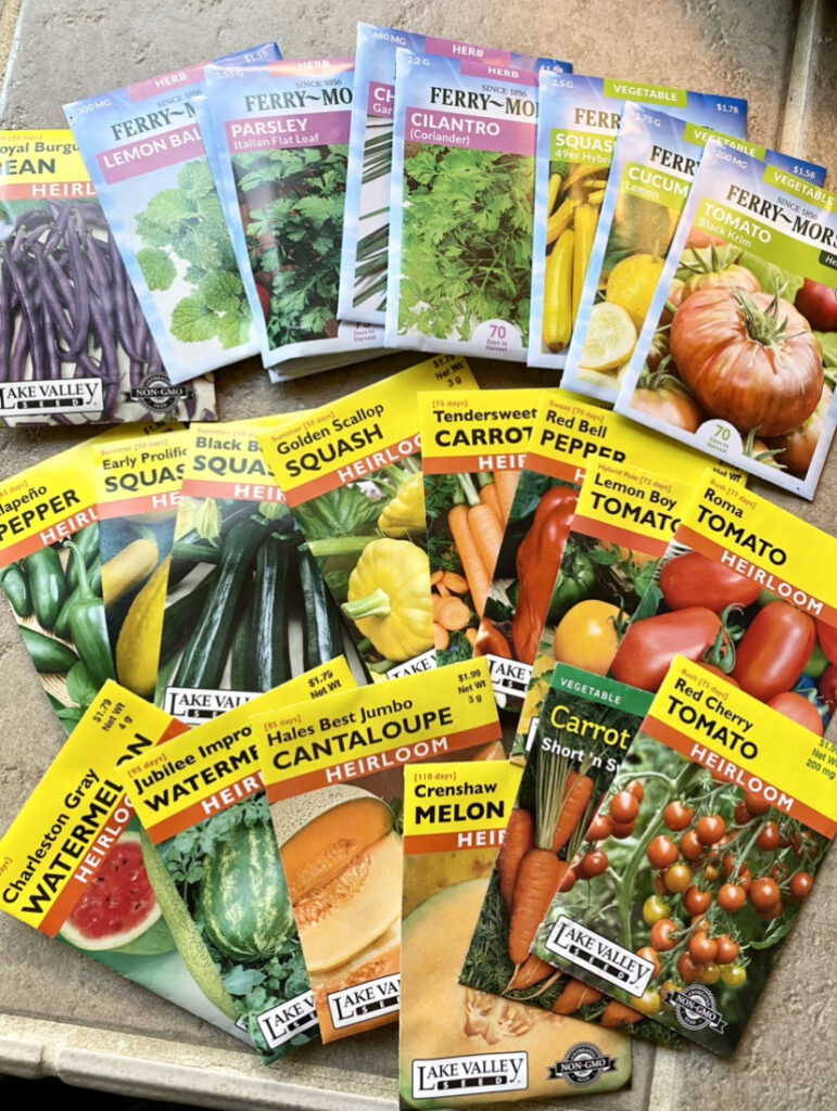 packets of vegetable seeds for backyard garden