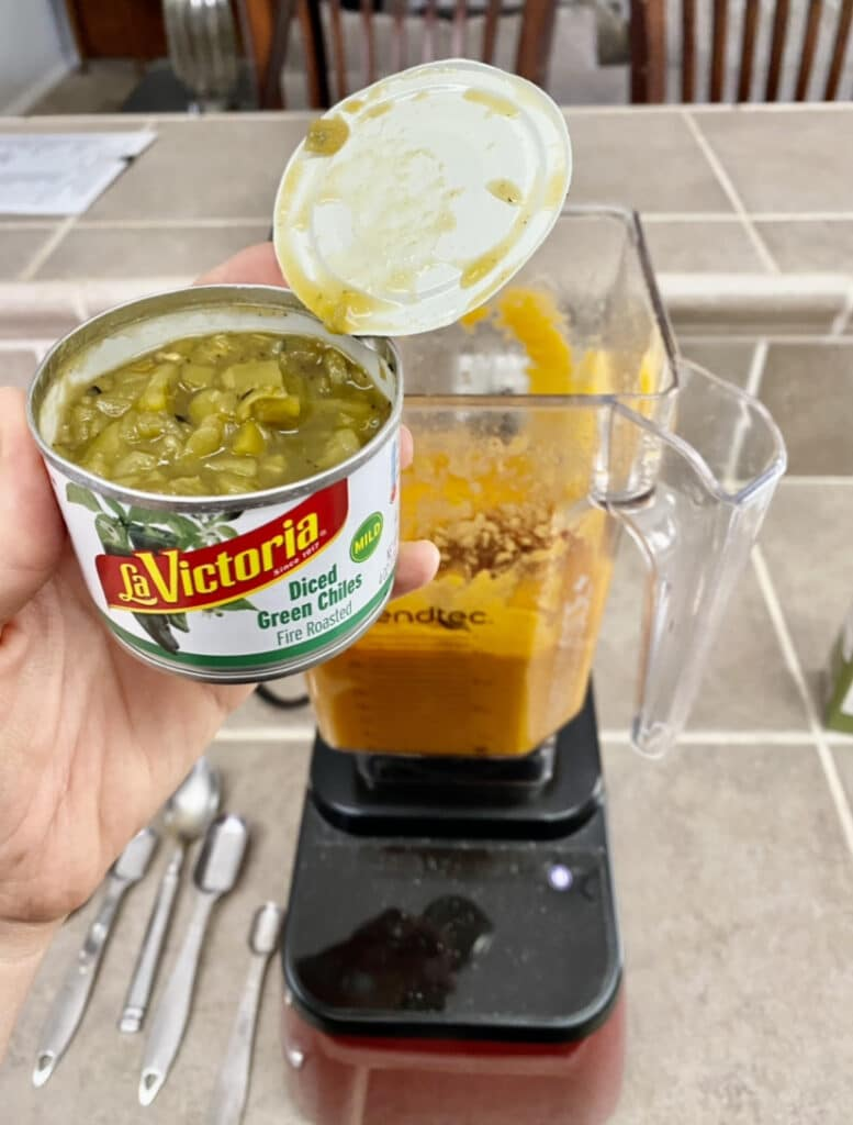 adding canned chilies to make queso