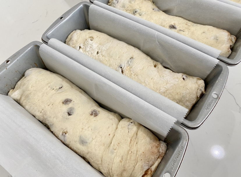 cinnamon swirl raisin bread recipe letting the loaves rest for 1 hour before baking